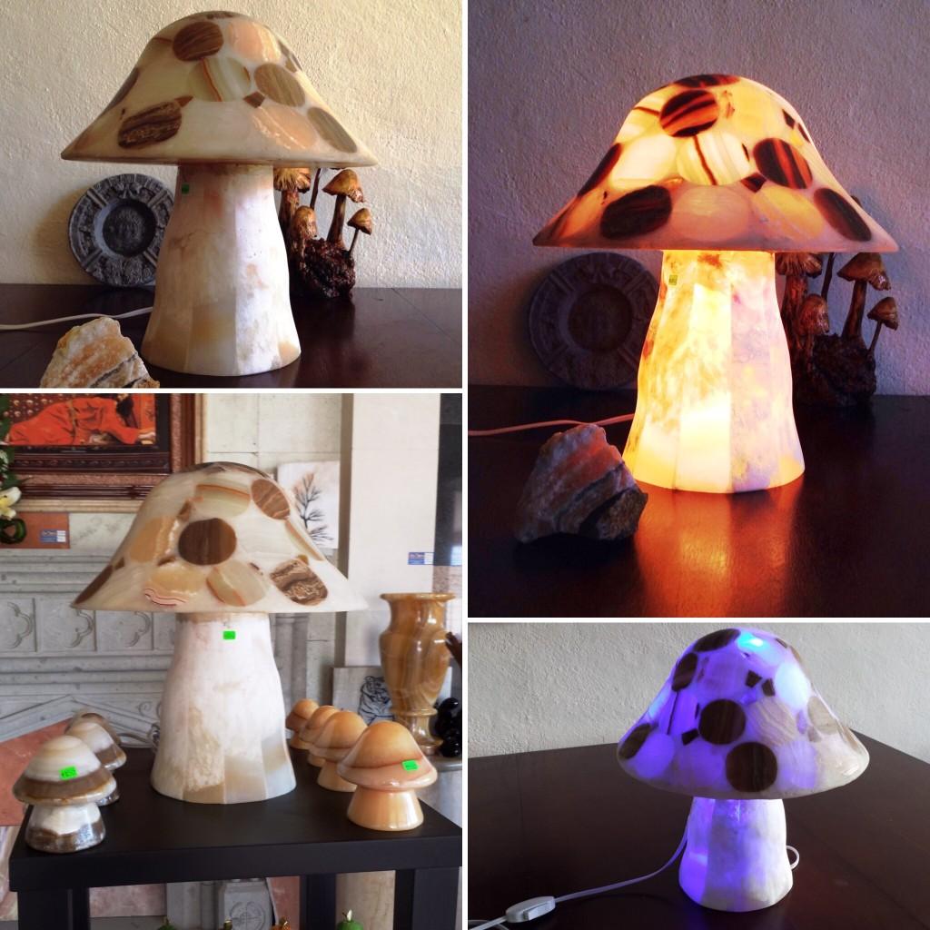 Hongos de Onix Marmol y Travertino con iluminacion